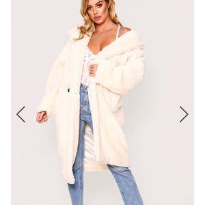 Cream oversized teddy coat